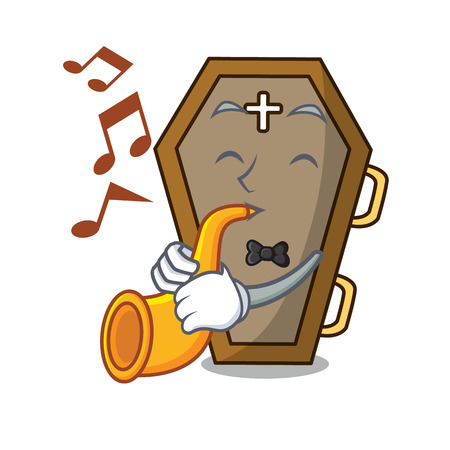 With trumpet coffin mascot cartoon style