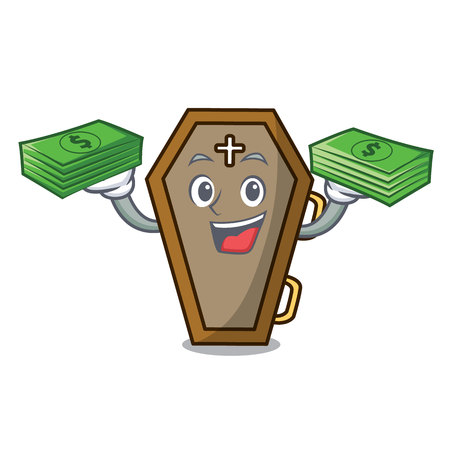 With money bag coffin mascot cartoon style Ilustracja