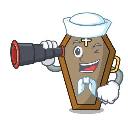Sailor with binocular coffin mascot cartoon style