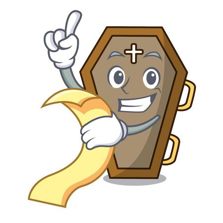 With menu coffin mascot cartoon style