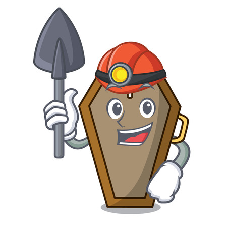 Miner coffin mascot cartoon style