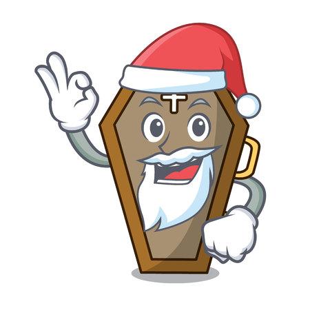 Santa coffin mascot cartoon style