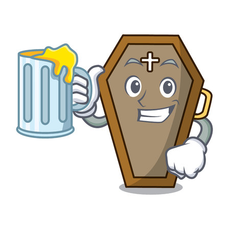 With juice coffin mascot cartoon style