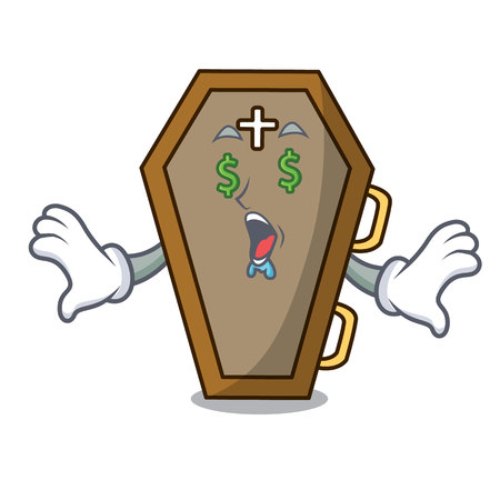 Money eye coffin mascot cartoon style