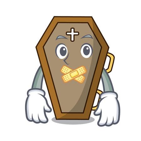Silent coffin mascot cartoon style