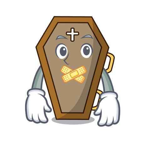 Silent coffin mascot cartoon style