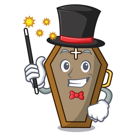 Magician coffin mascot cartoon style