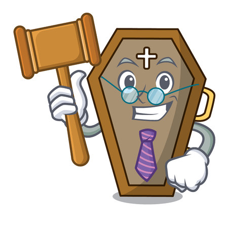 Judge coffin mascot cartoon style