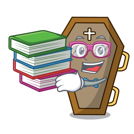 Student with book coffin mascot cartoon style