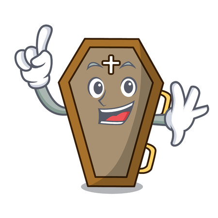 Finger coffin mascot cartoon style