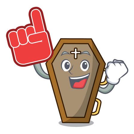 Foam finger coffin mascot cartoon style