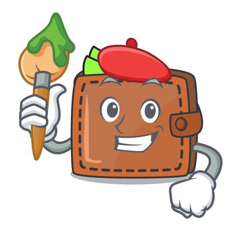 Artist wallet character cartoon style Illustration