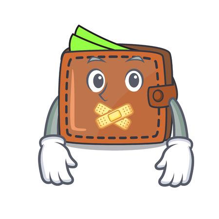Silent wallet mascot cartoon style