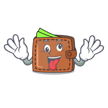 Stile cartoon mascotte portafoglio pazzo