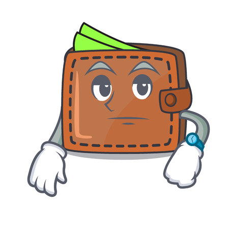 Waiting wallet mascot cartoon style