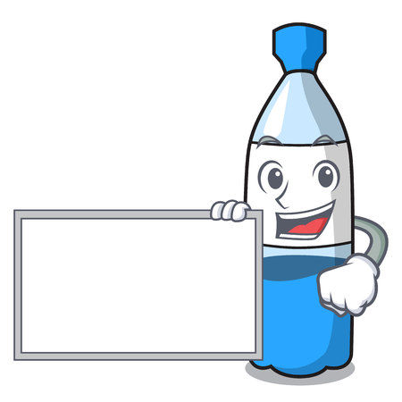 With board water bottle character cartoon vector illustration Illustration