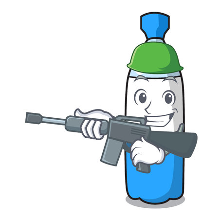 Army water bottle character cartoon vector illustration 向量圖像
