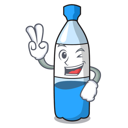 Two finger water bottle character cartoon vector illustration 向量圖像