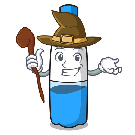 Witch water bottle mascot cartoon vector illustration