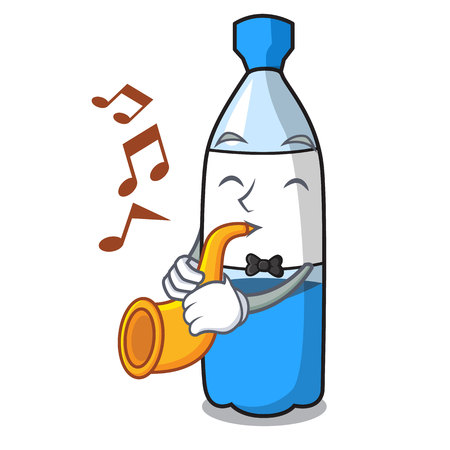 With trumpet water bottle mascot cartoon vector illustration Illustration