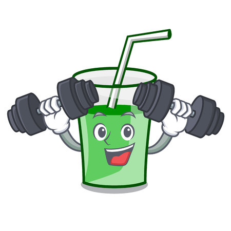 Fitness green smoothie character cartoon vector illustration