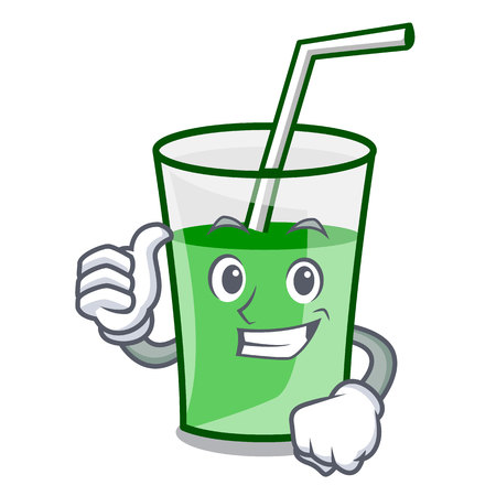 Thumbs up green smoothie character cartoon vector illustration Stock Illustratie