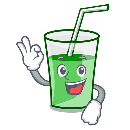 Okay green smoothie character cartoon vector illustration