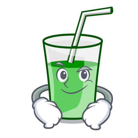 Smirking green smoothie character cartoon vector illustration