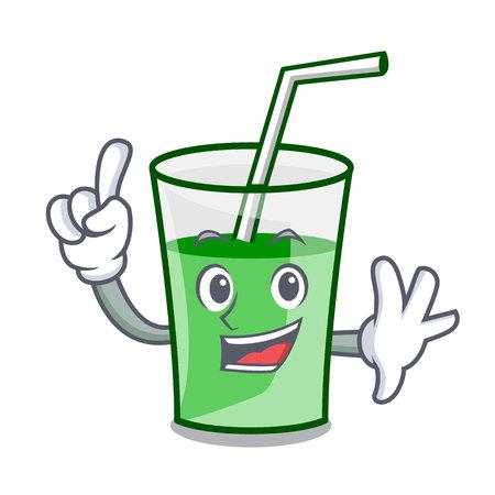 Finger green smoothie mascot cartoon vector illustration