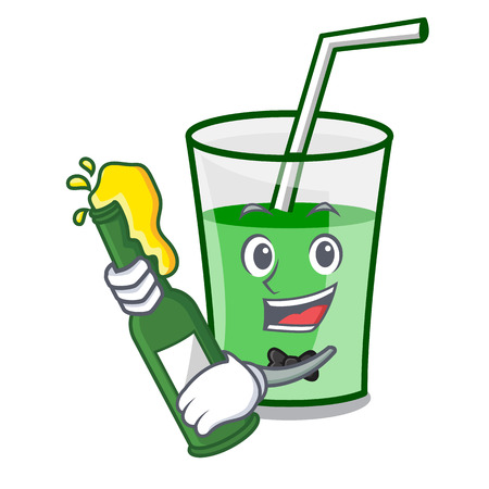 With beer green smoothie mascot cartoon vector illustration