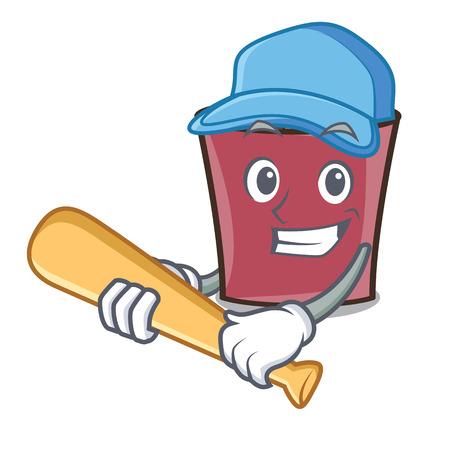 Playing baseball hot chocolate character cartoon vector illustration