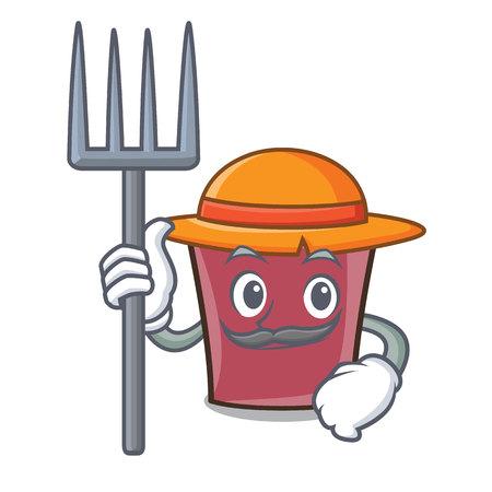 Farmer hot chocolate character cartoon vector illustration