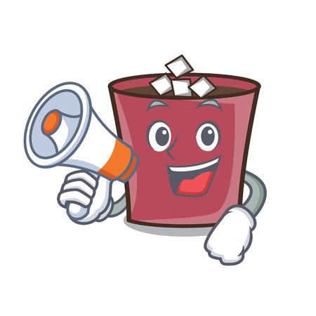 With megaphone hot chocolate character cartoon vector illustration Illustration