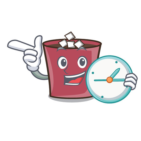 With clock hot chocolate character cartoon vector illustration