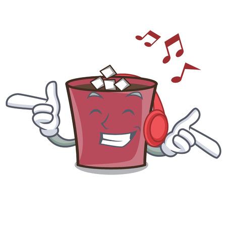 Listening music hot chocolate mascot cartoon vector illustration Illustration