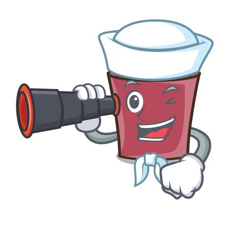 Sailor with binocular hot chocolate mascot cartoon vector illustration