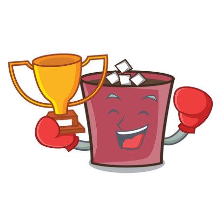 Boxing winner hot chocolate mascot cartoon vector illustration