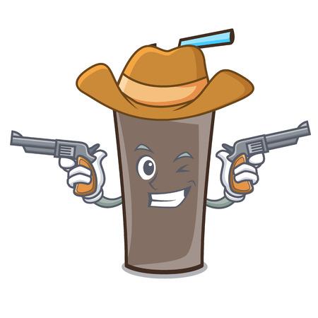 Cowboy ice chocolate character cartoon vector illustration