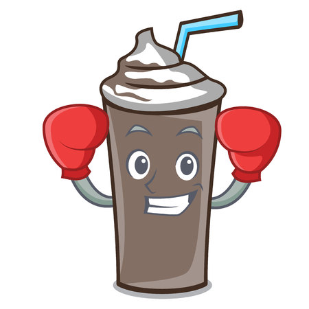 Boxing ice chocolate character cartoon vector illustration Illustration