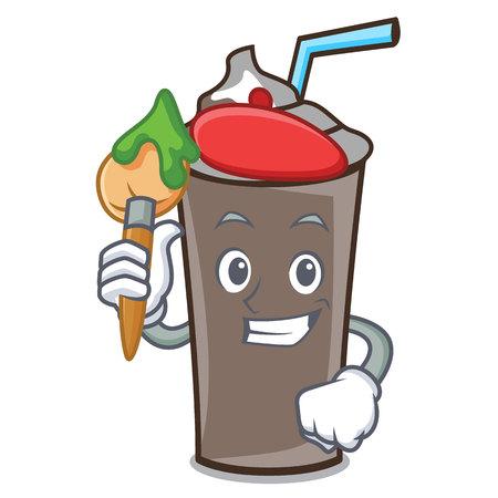 Artist ice chocolate character cartoon vector illustration
