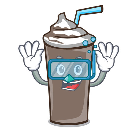 Diving ice chocolate character cartoon vector illustration