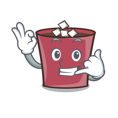 Call me hot chocolate mascot cartoon vector illustration Illustration