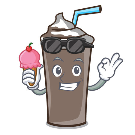 With ice cream ice chocolate character cartoon vector illustration
