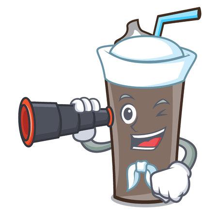 Sailor with binocular ice chocolate mascot cartoon vector illustration