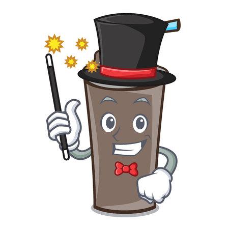 Magician ice chocolate mascot cartoon vector illustration