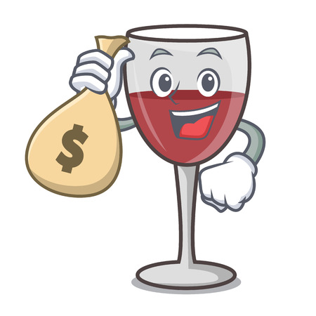 With money bag wine character cartoon style vector illustration Vettoriali