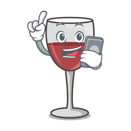 With phone wine character cartoon style vector illustration