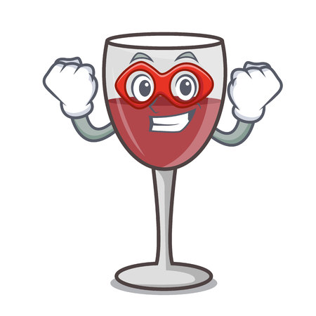 Super hero wine character cartoon style vector illustration