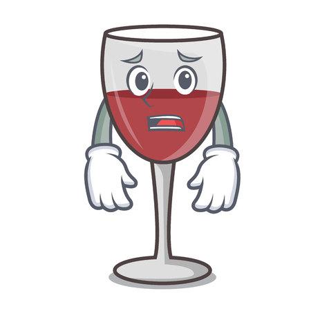 Afraid wine mascot cartoon style vector illustration Illustration