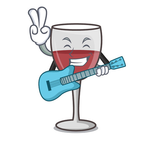 With guitar wine mascot cartoon style vector illustration
